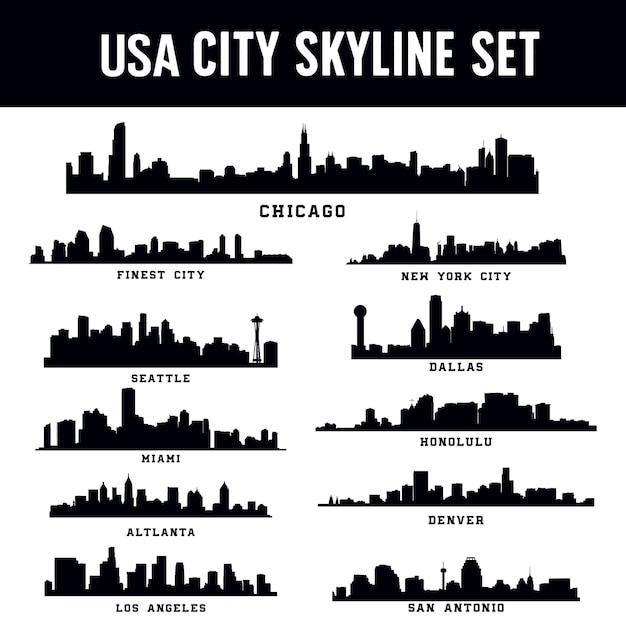 Skyline der vereinigten staaten amerika-stadt eingestellt Premium Vektoren