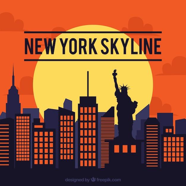Skyline design von new york Kostenlosen Vektoren
