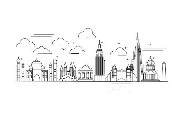Skyline tourismus sehenswürdigkeiten skizzieren Kostenlosen Vektoren
