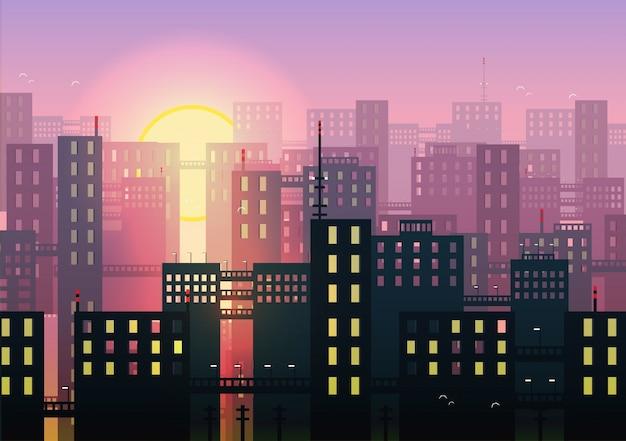 Skyline und sonnenuntergang bakcground Kostenlosen Vektoren