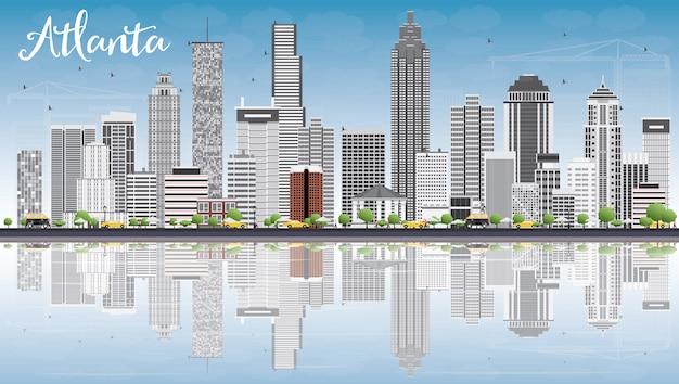 Skyline von atlanta mit grauen gebäuden, blauem himmel und reflexionen. Premium Vektoren