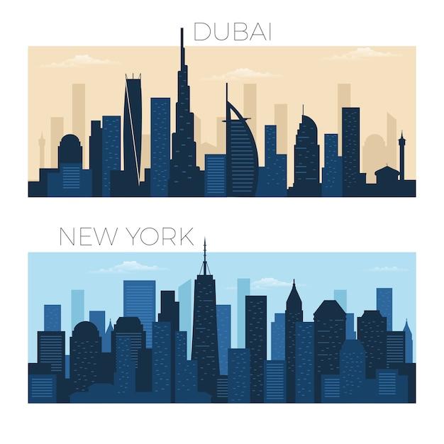 Skyline von dubai und new york city Premium Vektoren