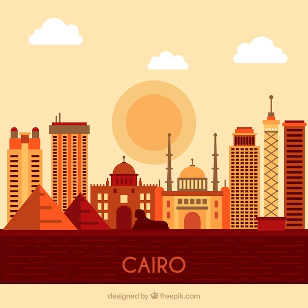 Skyline von kairo, ägypten Kostenlosen Vektoren