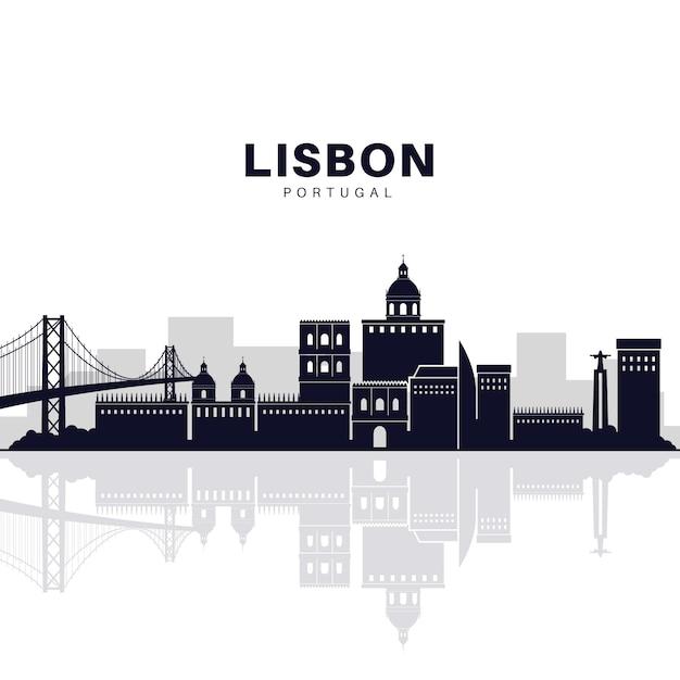 Skyline von lissabon Kostenlosen Vektoren