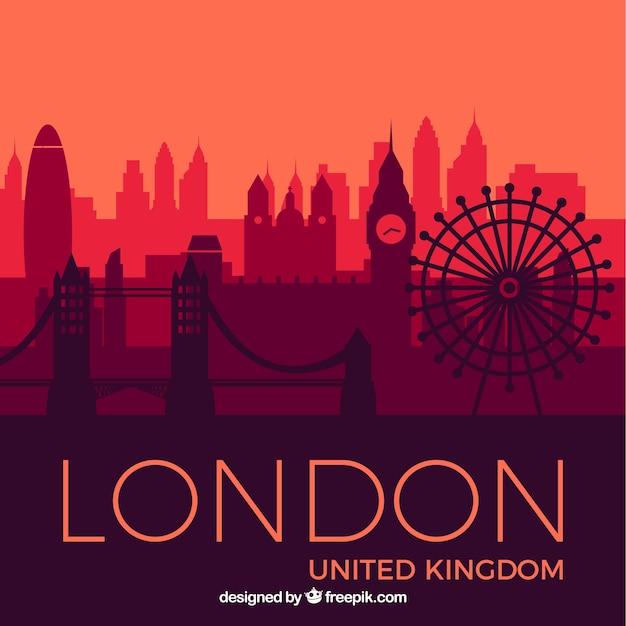 Skyline von London in den Rottönen Kostenlose Vektoren
