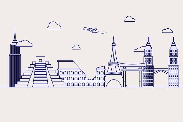 Skyline von sehenswürdigkeiten zu skizzieren Kostenlosen Vektoren