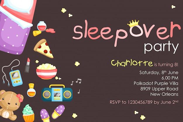 Sleepover-party-geburtstagseinladung Premium Vektoren