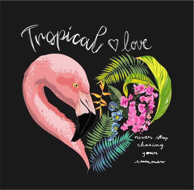 Slogan mit flamingo und blume Premium Vektoren
