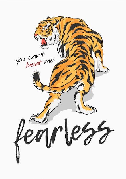 Slogan mit tigergraphikillustration Premium Vektoren