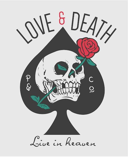 Slogan mit totenkopf und rose in augenhöhle illustration Premium Vektoren