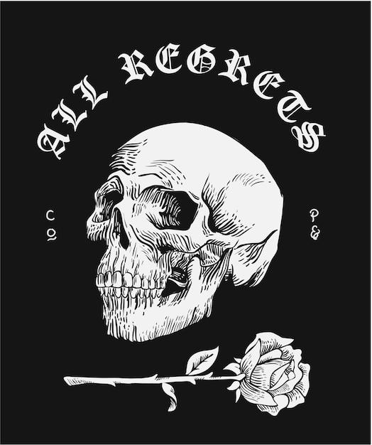 Slogan mit totenkopfschwarzweiss-illustration Premium Vektoren