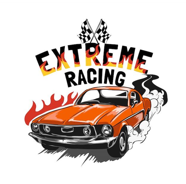 Slogan mit vintage rennwagen illustration Premium Vektoren