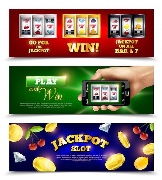 Slot machine banner gesetzt Kostenlosen Vektoren