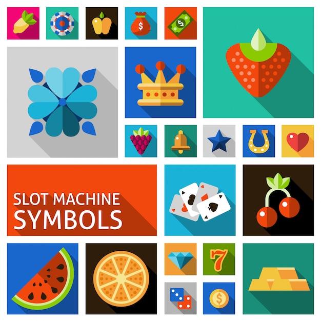 Slot machine symbole gesetzt Kostenlosen Vektoren