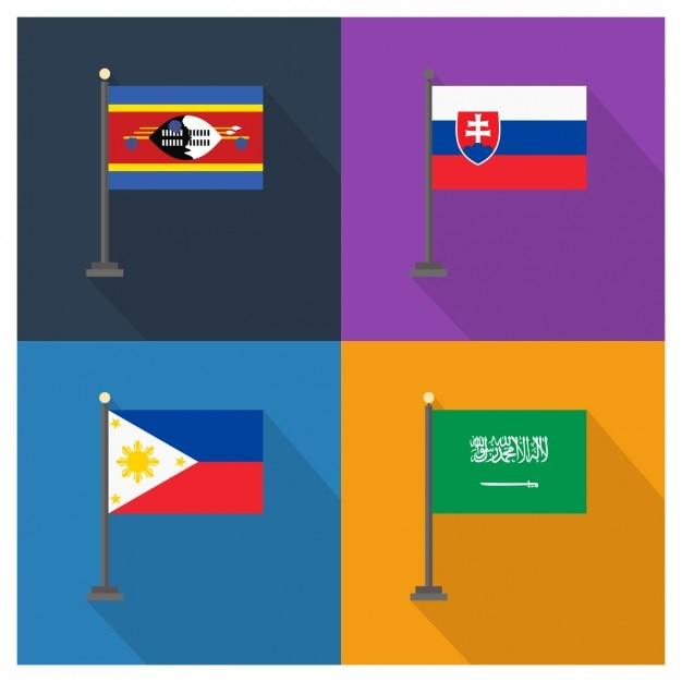 Slowakei Philippinen und Saudi-Arabien Flaggen Kostenlose Vektoren