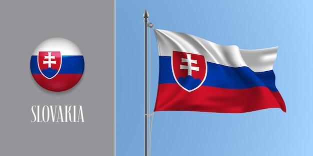 Slowakei wehende flagge auf fahnenmast und rund Premium Vektoren