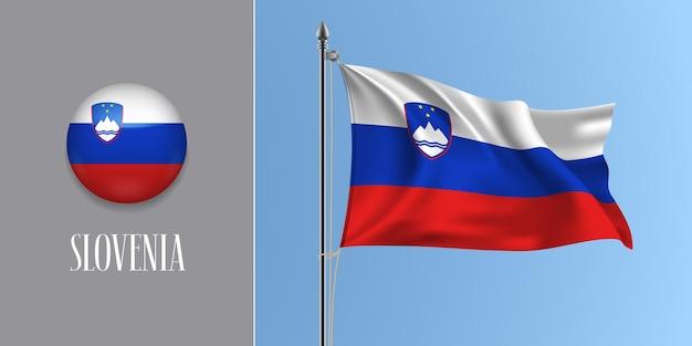 Slowenien wehende flagge auf fahnenmast und runder ikone. realistische 3d der roten blauen slowenischen flagge und des kreisknopfes Premium Vektoren