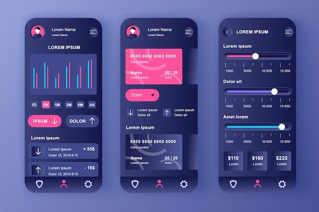 Smart banking einzigartiges neomorphes kit. finanz-app für einstellungen für kreditkartenguthaben, analysen und zahlungslimits. benutzeroberfläche des online-bankkontos, ux-vorlagensatz. gui für reaktionsschnelle mobile anwendungen Premium Vektoren