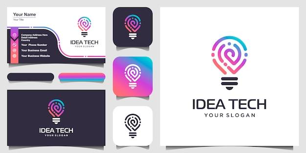 Smart bulb tech logo symbol und visitenkarte. bulb logo design bunt. idee kreatives glühbirnenlogo. glühbirne digitale logo-technologie idee Premium Vektoren