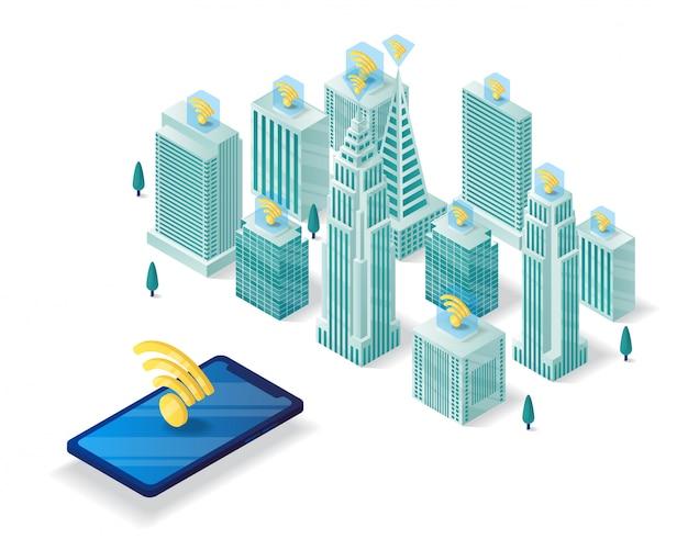 Smart city isometrische darstellung Premium Vektoren