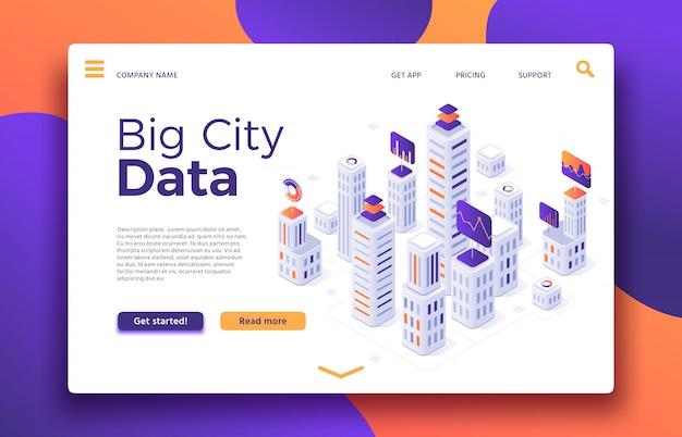 Smart city landung. isometrische illustration des geschäftslokalgebäudebewertungs-, immobilienagentur- oder gebäudemieteigentums Premium Vektoren