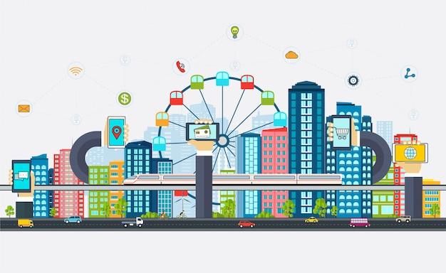 Smart city mit geschäftsschildern, Premium Vektoren