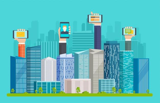Smart city mit wolkenkratzern und händen Premium Vektoren