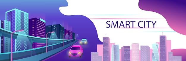 Smart city neon leuchtendes stadtbild für website und mobile website. Premium Vektoren