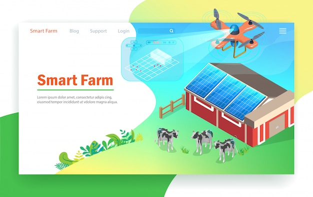 Smart farm-technologie. Premium Vektoren