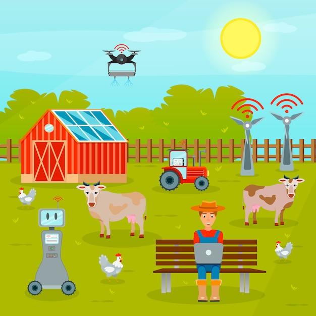 Smart farming flat zusammensetzung Kostenlosen Vektoren