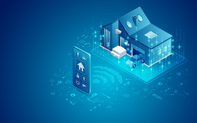 Smart home abbildung Premium Vektoren