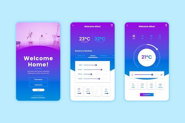 Smart home app-bildschirme Kostenlosen Vektoren