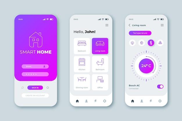 Smart home app-oberfläche Premium Vektoren