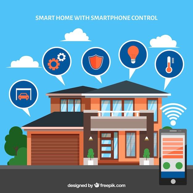 smart home hintergrund mit smartphone steuerung download der kostenlosen vektor. Black Bedroom Furniture Sets. Home Design Ideas