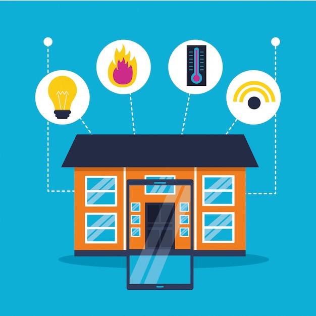 Smart home im flachen stil Kostenlosen Vektoren