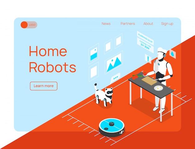 Smart home integrierte humanoide haushaltsassistent reiniger und tierroboter isometrische landingpage website-design Kostenlosen Vektoren