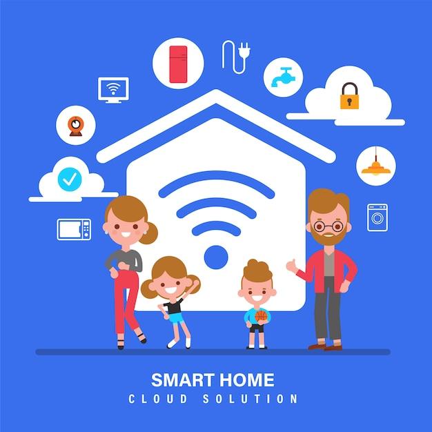 Smart home, internet der dinge, iot, familie mit smart home-konzeptillustration. flache designart-zeichentrickfigur. Premium Vektoren