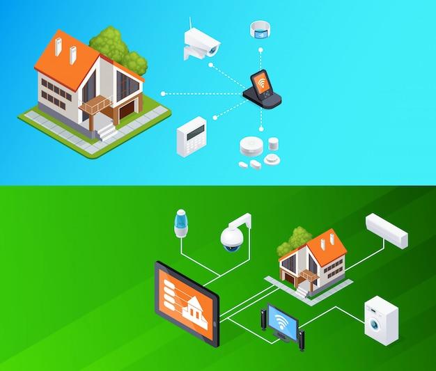 Smart home isometrische banner eingestellt Kostenlosen Vektoren