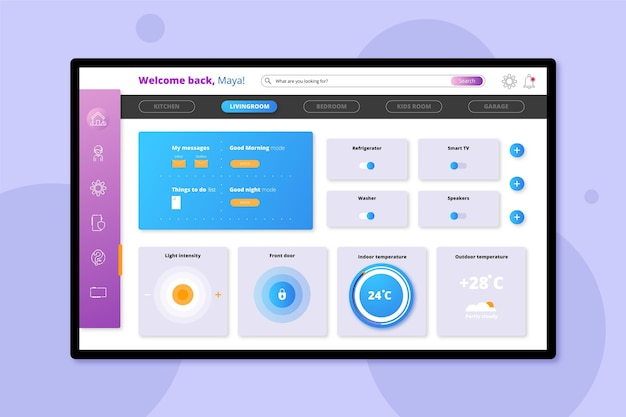 Smart home management laptop-bildschirm app Kostenlosen Vektoren