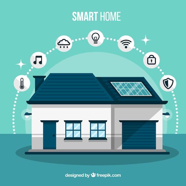 Smart home mit funktionen in flachen stil Kostenlosen Vektoren