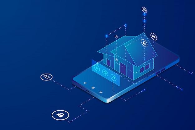 Smart home mit zur drahtlosen steuerung des isometrischen konzepts. Premium Vektoren