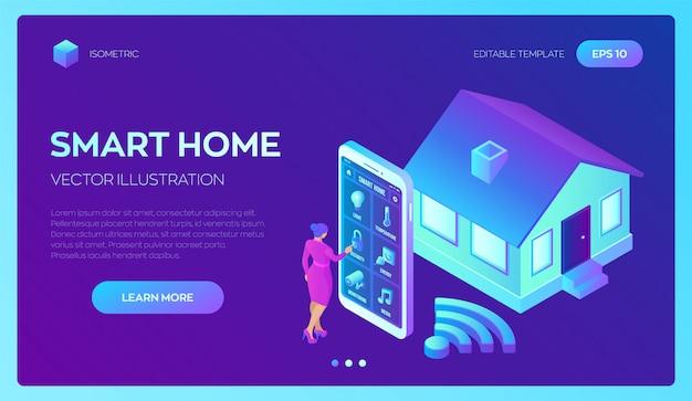Smart-home-system isometrisches 3d-fernsteuerungssystem für das haus. iot-konzept. Premium Vektoren