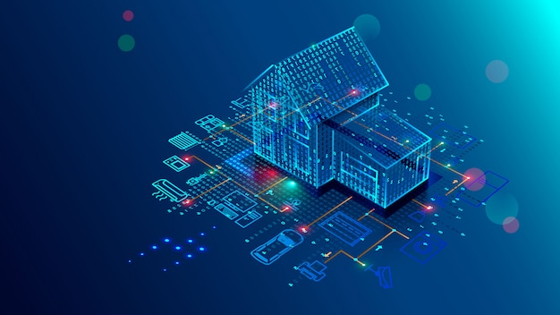 Smart-home-technologie der schnittstelle, steuerungssicherheit und automatisierung von smart-house Premium Vektoren