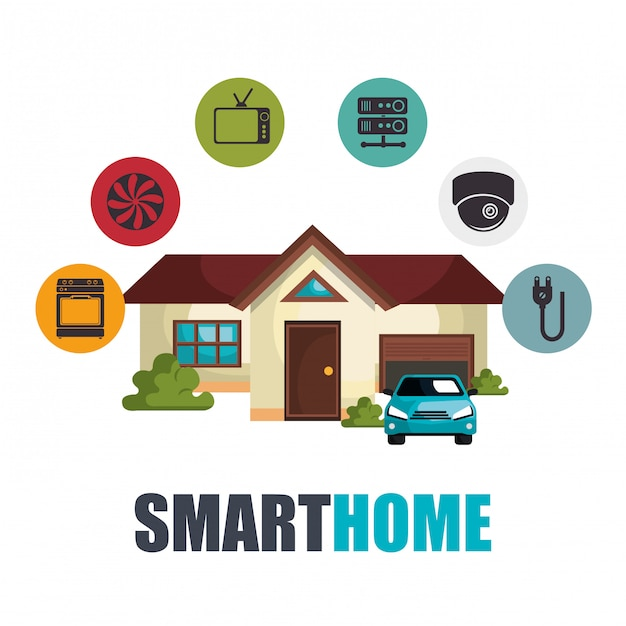Smart-home-technologie-set-symbol Kostenlosen Vektoren