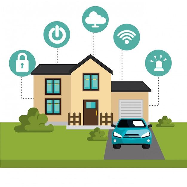 Smart-home-technologie-set-symbol Kostenlosen Vektoren