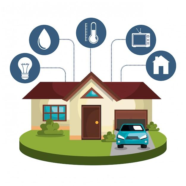 Smart-home-technologie stellen icons Kostenlosen Vektoren