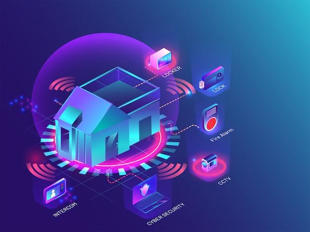 Smart home-technologie. Premium Vektoren