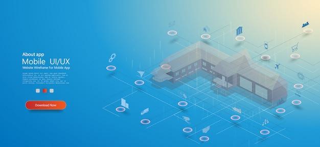 Smart home, tolles design für jeden zweck. smart home mit isometrischem konzept des internets der dinge. smart city technologie Premium Vektoren