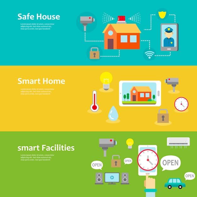 Smart home und einrichtungen konzept banner in flachem design gesetzt Premium Vektoren