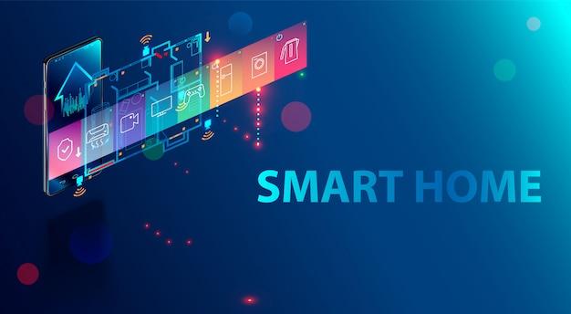 Smart home wird von einem smartphone hom, einem hausautomationssystem mit iot-technologie, gesteuert. Premium Vektoren
